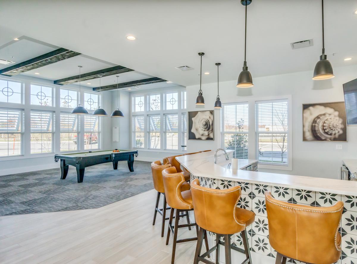 Bar area and billiards table.