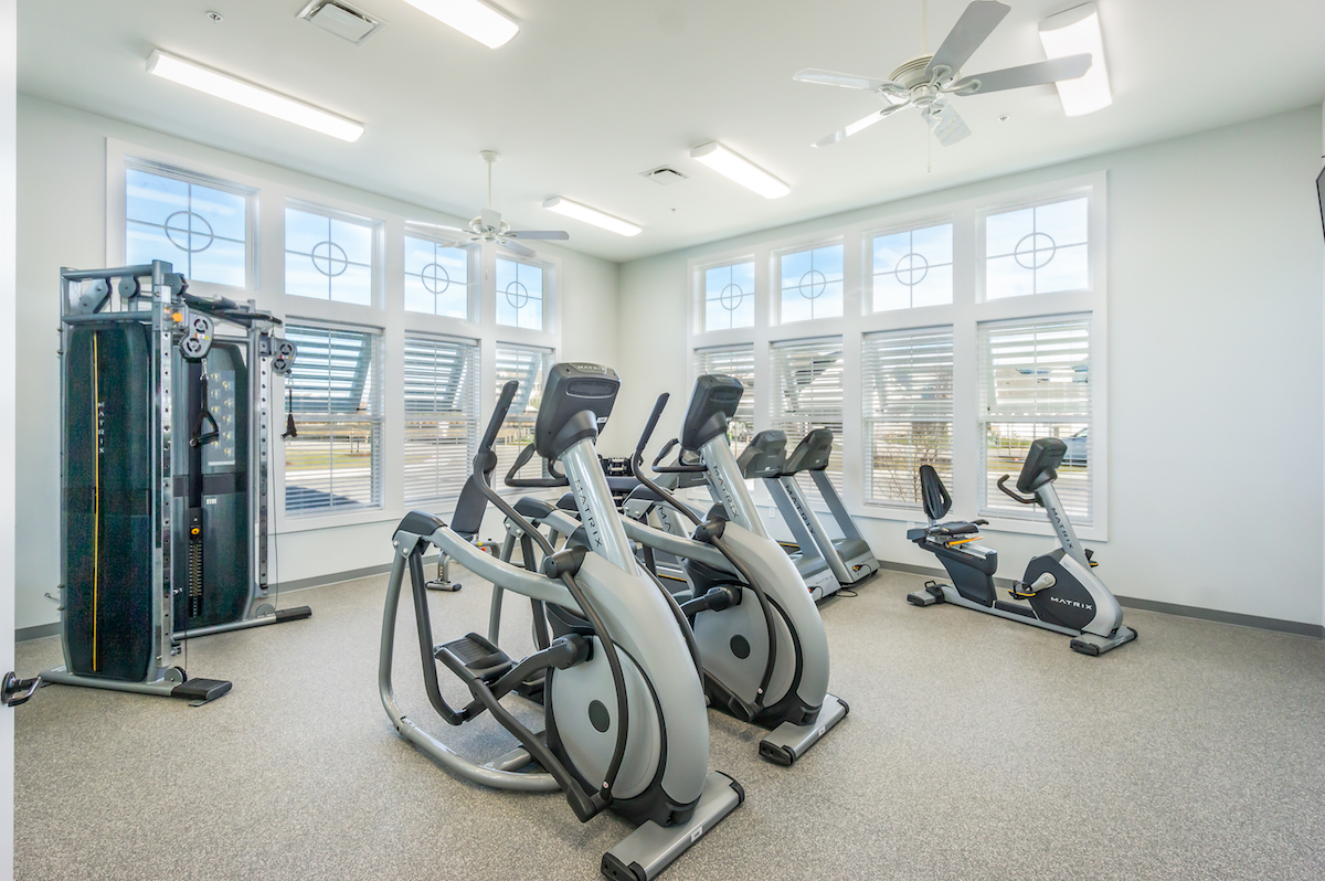 Workout room with equipment from Bay Bridge Cove.